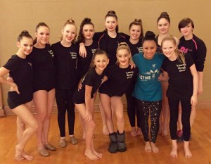 Abby (2nd from left) with members of Envision Dance Company, 2015