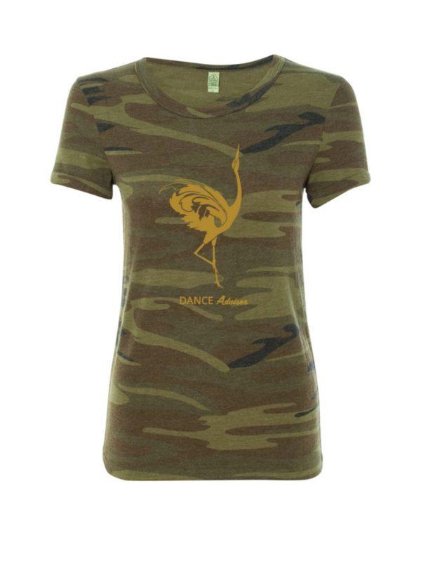 Camo shirt with Gold Foil Dancing Crane